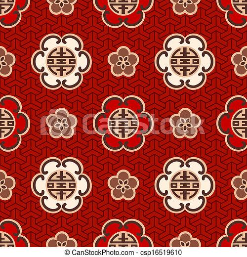 "chinese ""shou"" character pattern - csp16519610"
