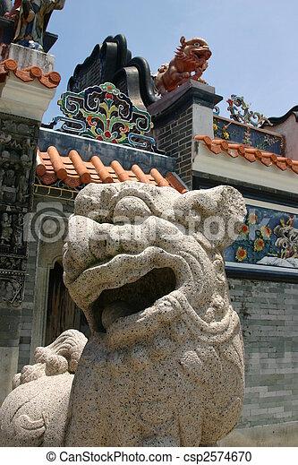 Chinese Stone Dragon at Tin Hau Temple - Cheung Chau - Hong Kong - csp2574670