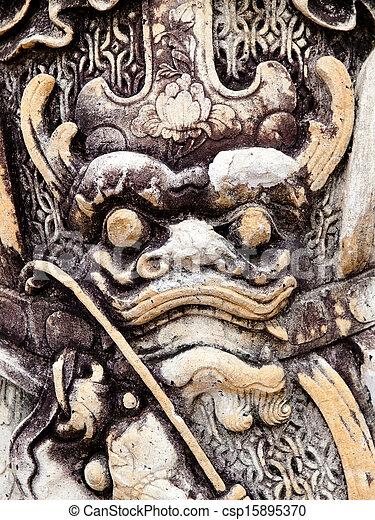 Chinese stone dragon - csp15895370