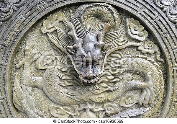 Chinese stone dragon statue  - csp16938569