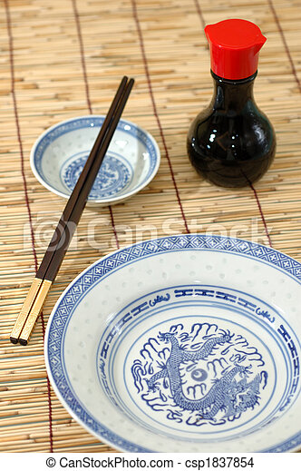 Chinese table setting - csp1837854 & Chinese table setting. Chinese plate chopsticks and soya sauce ...