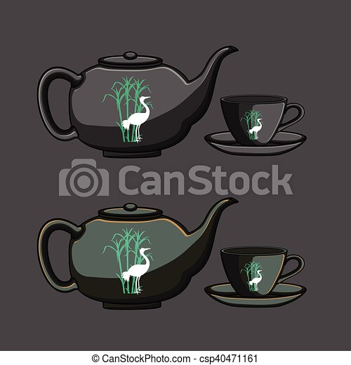 Chinese teapot and cup vector illustration clip art vector ...