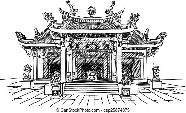 Chinese Temple Vector Illustration Of A Vectors