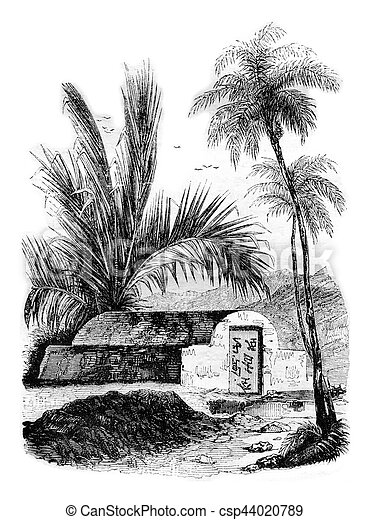 Chinese tomb at Ambon, Maluku Islands, vintage engraving. - csp44020789