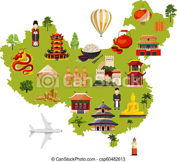 cartoon map of china Chinese Travel Illustration With Different Cultural Objects cartoon map of china