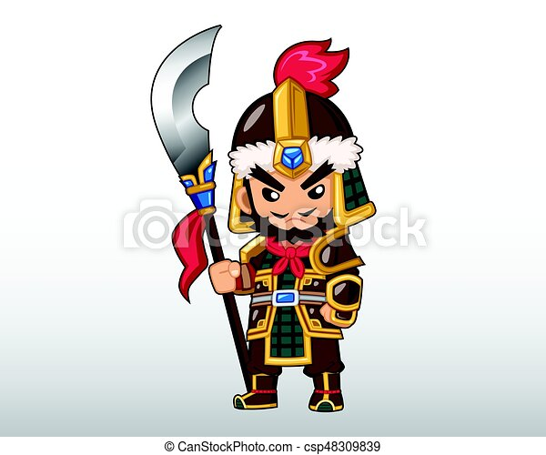 Chinese Warrior Illustration Chinese Warrior With His Lance
