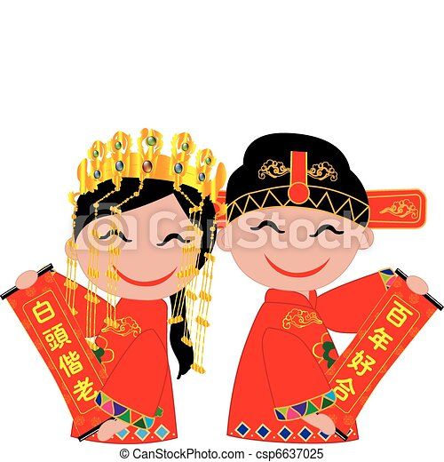chinese wedding chinese bride and groom holding coupletsto rh canstockphoto com china clipart flag china clipart images