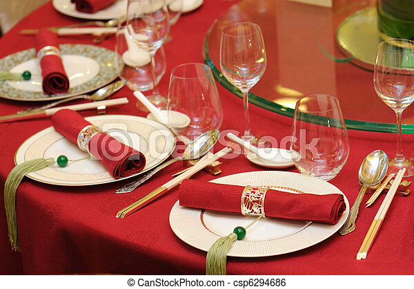 Chinese wedding table set - csp6294686 & Chinese wedding table set. Chinese wedding banquet table setting.