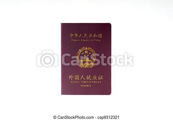 Chinese work permit - csp9312321