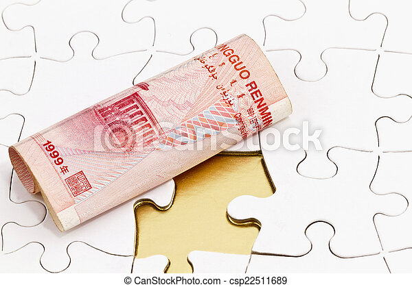 Chinese Yuan on Puzzle with Missing Piece - csp22511689