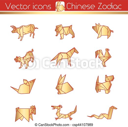 Chinese Zodiac Gold Origami Vector Icons