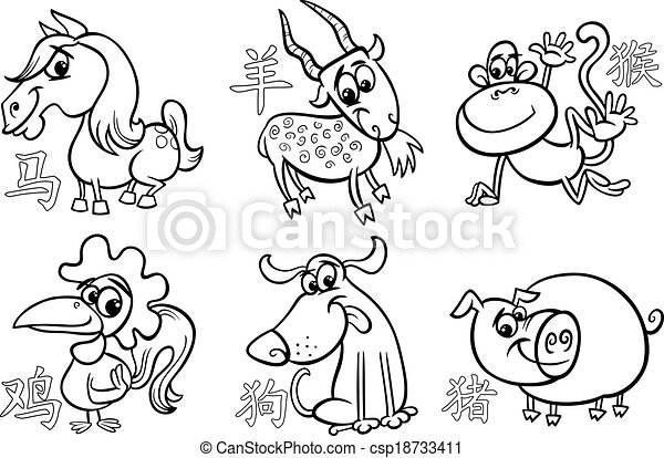 16d5d2d7a Chinese zodiac horoscope signs. Black and white cartoon illustration ...