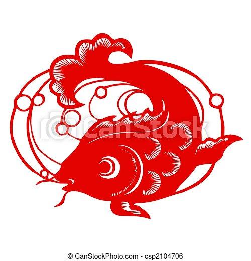 Chinese Zodiac of fish - csp2104706