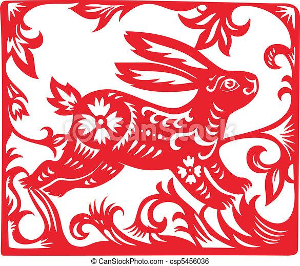 Chinese Zodiac of Rabbit Year. - csp5456036