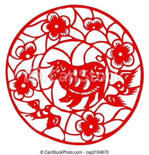Chinese Zodiac of sheep - csp2104670