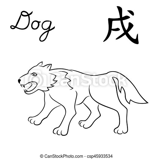 Chinese Calender Geometric Abstract Line Art Animal Stencil