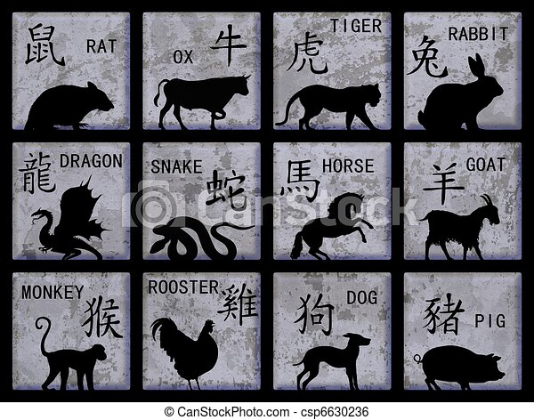 Chinese Zodiac Symbols Twelve Square Buttons With Chinese Zodiac