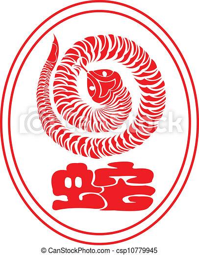 Chinese Zodiac: The snake. - csp10779945