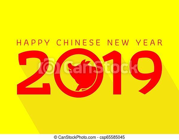 chinesisches , schwein, 2019, jahr, neu , glücklich - csp65585045