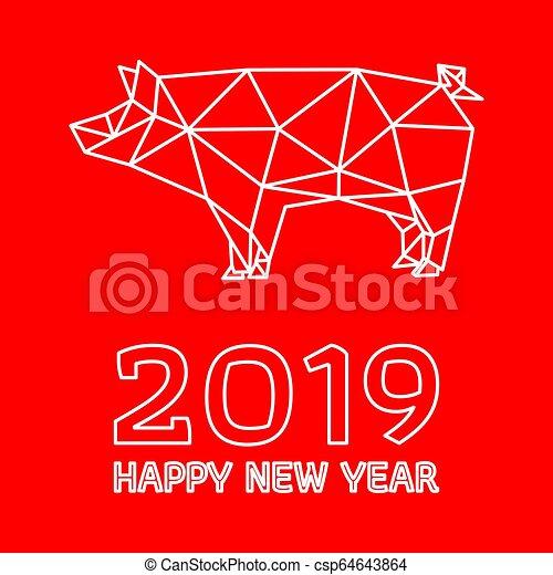 Polygonaler Schweinebau für chinesisches neues Jahr - csp64643864