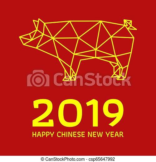 chinesisches , schwein, polygonal, design, jahr, neu  - csp65647992