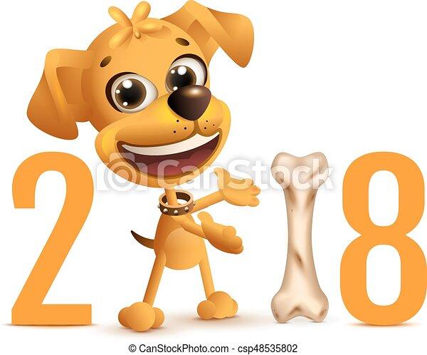 Simbolo de perro amarillo 2018 años en calendario chino - csp48535802