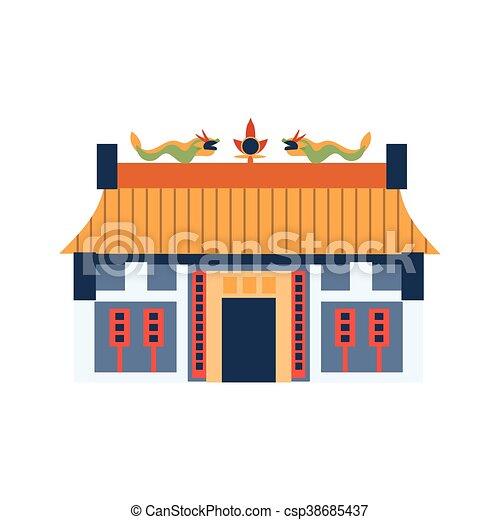 Chinois classique maison toit dragons simplifi for Toit de maison dessin