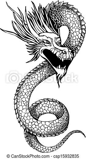 Chinois serpent dragon legless illustration dragon vecteur oriental noir blanc - Dessin de dragon chinois ...