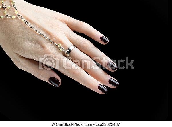 chiodo, scuro, metallina, nero, manicure, manicured, polish. - csp23622487