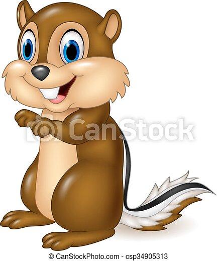 chipmunk, cartone animato, seduta - csp34905313