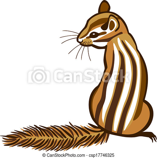 chipmunk vector illustration of a chipmunk sitting with