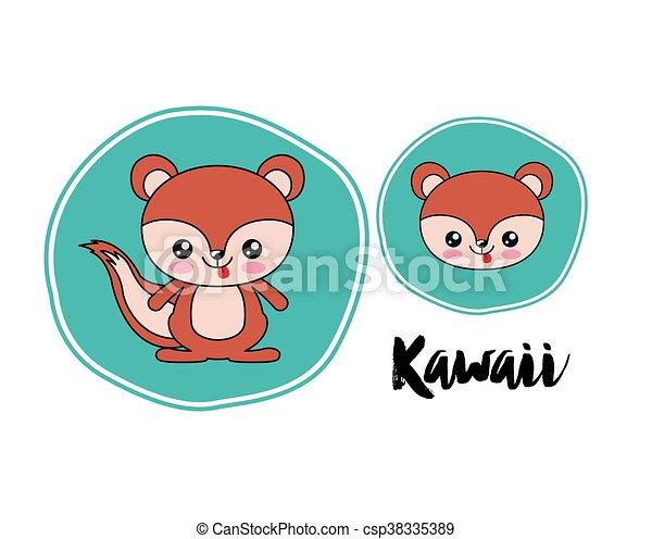 chipmunk kawaii style isolated icon design - csp38335389