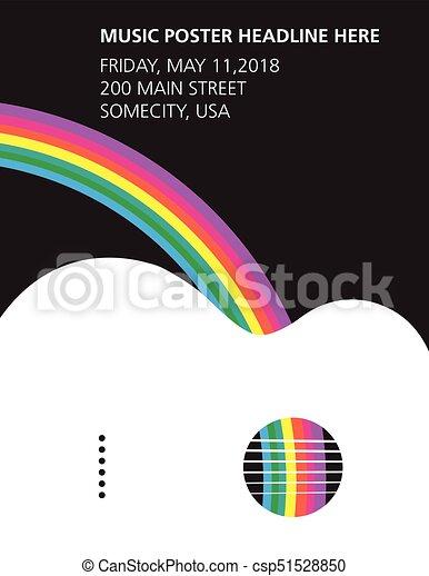 chitarra, arcobaleno, acustico, manifesto - csp51528850