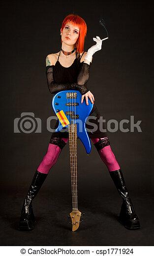chitarra, fumo, ragazza, romantico, basso - csp1771924