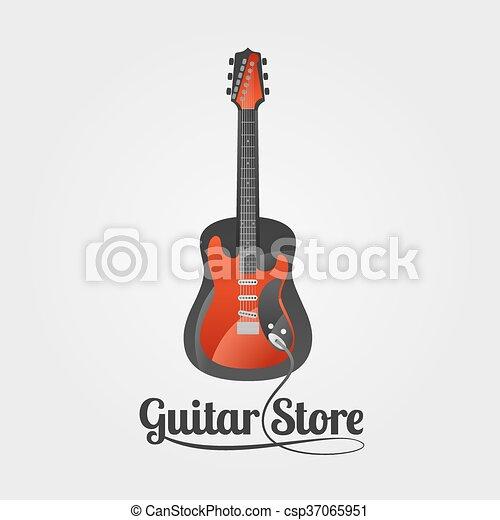 chitarra, logotipo, vettore, negozio - csp37065951