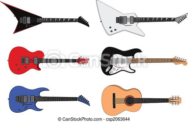 Chitarre Loro Guitars You Sei Illustrazione Color Stilizzato