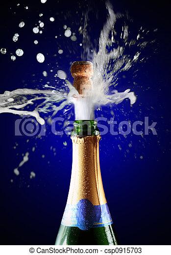 chiudere, champagne, su, schioccare, sughero - csp0915703