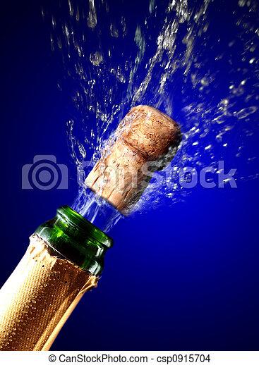 chiudere, champagne, su, schioccare, sughero - csp0915704