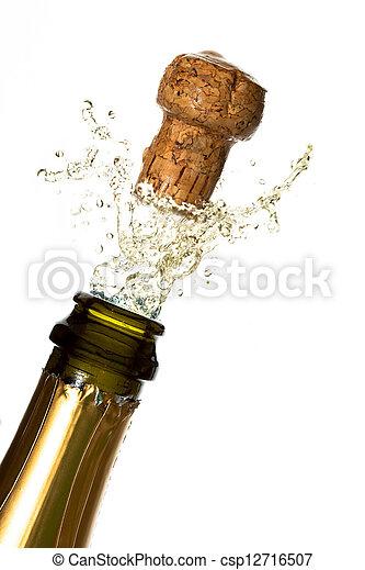 chiudere, champagne, su, schioccare, sughero - csp12716507