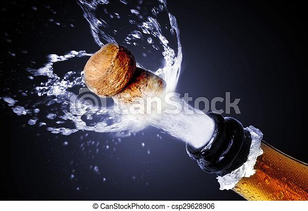 chiudere, champagne, su, schioccare, sughero - csp29628906