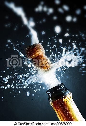 chiudere, champagne, su, schioccare, sughero - csp29628909