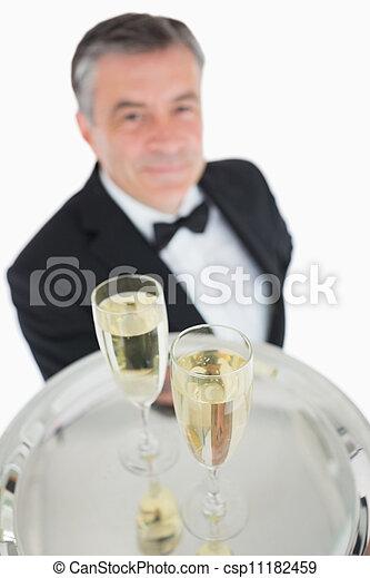chiudere, champagne, vassoio, su, occhiali - csp11182459