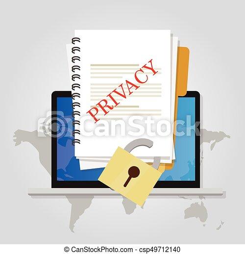 chiuso chiave, intimità, protezione, linea, sicurezza, documento, dati - csp49712140