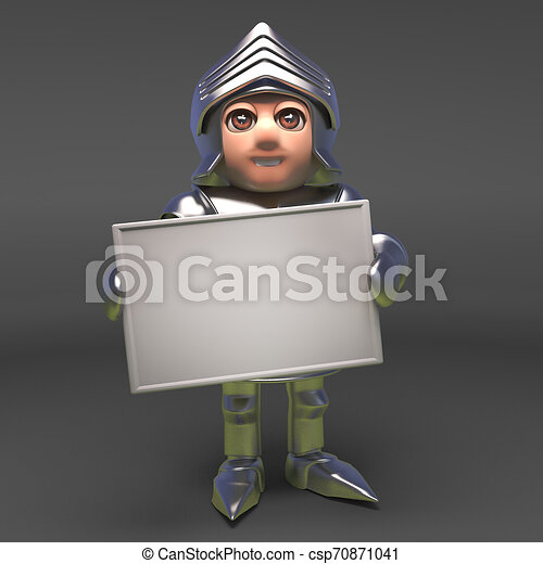 Chivalrous knight in armour holding a blank banner, 3d illustration - csp70871041