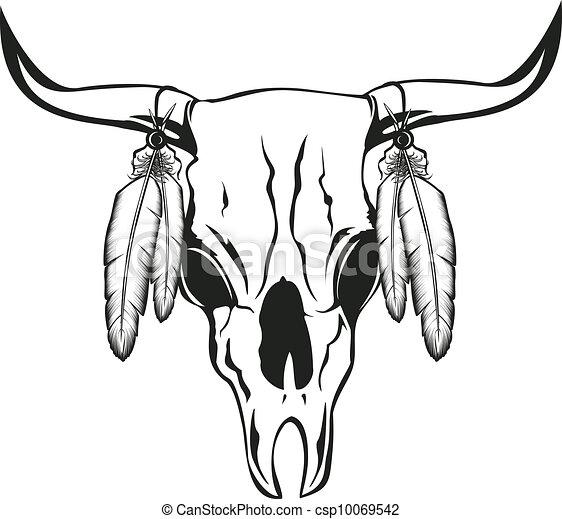 Chmyri Lebka Byk Vektor Chmyri Ilustrace Lebka Byk