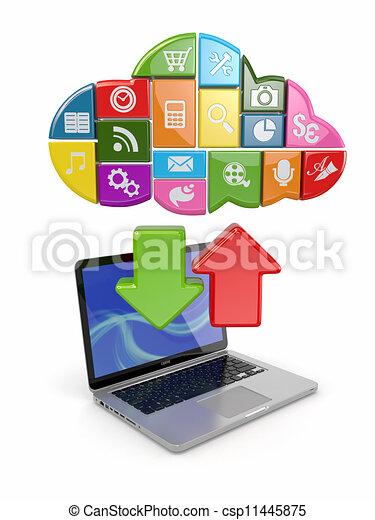 chmura, software., laptop, computing., ikony - csp11445875