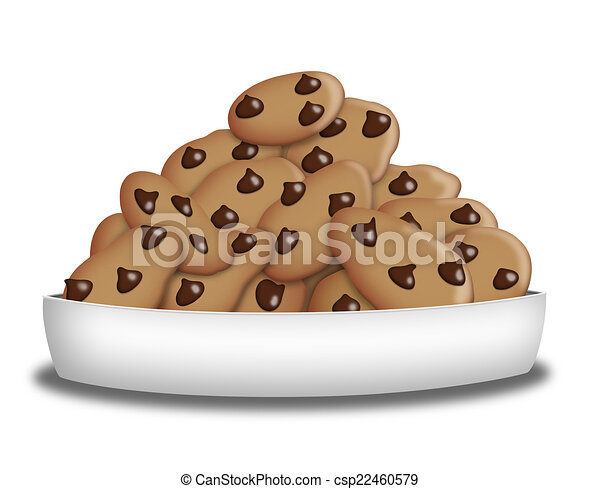 choco chip cookies plate full of chocolate chip cookies rh canstockphoto com Cookie Border Cookie Tray Clip Art