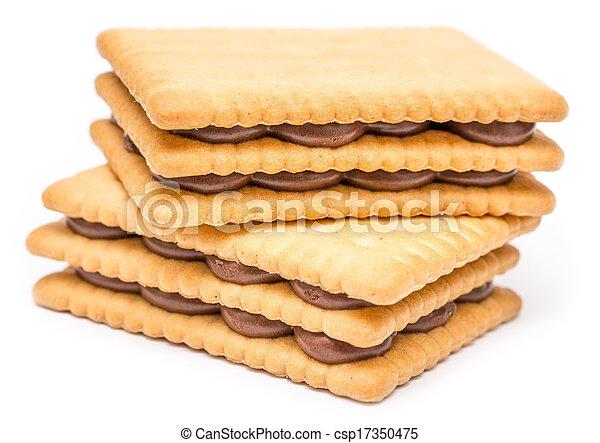 chocoladekleurig biscuit, gevulde, room - csp17350475