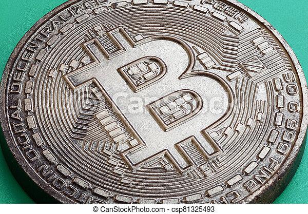 chocolat, arrière-plan., produit, crypto, comestible, modèle, plastique, monnaie, physique, formulaire, bitcoin, vert, mensonges - csp81325493