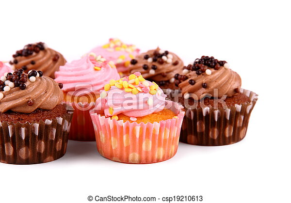 Chocolate and pink cup cakes with deco balls - csp19210613